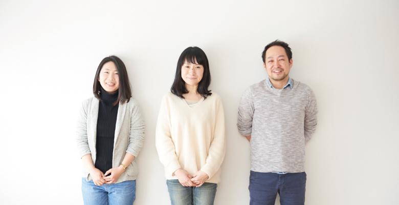 プロジェクトチームのメンバー、刈屋典子、安村和子、風間祥光。普段から「THE BASIC」を愛用しています。