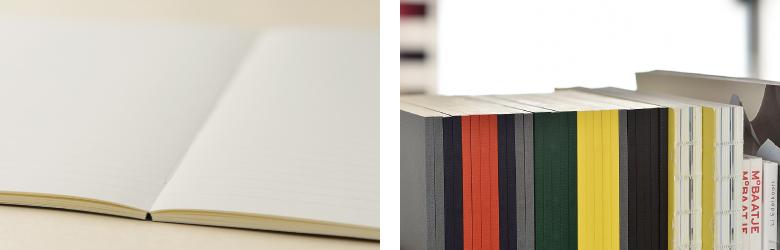 糸かがり綴じなので開いた時もしっかりフラットに。  デスクに置いても、本立てに立てても美しいエッジのある背表紙。